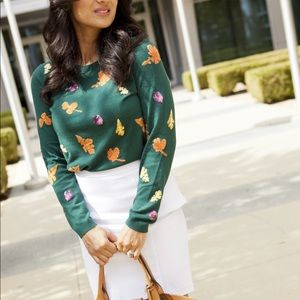 Talbots • Leaf and Acorn Embellished Fall Sweater